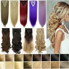 US 100% Real Natural Full Head Clip in Hair Extensions 8 Pieces on Straight Wavy